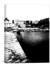 Tenby Harbour Black and White canvas finish , Canvas Print