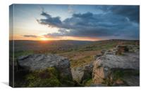 Sunset over baslow edge, Canvas Print