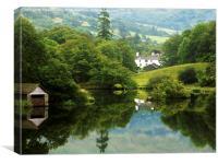 White cottage, Canvas Print