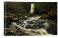 Waterfall at Blaen Y Glyn Brecon Beacons , Canvas Print