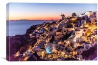 Sunset in Oia Santorini, Canvas Print