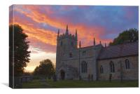 Sunset over St Wilfrid Church Honington, Canvas Print