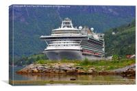 Ventura Cruise Ship in Norwegian Fjord. Olden 201, Canvas Print