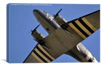 Dakota DC-3 Transport Aircraft Overhead., Canvas Print