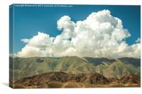 White clouds over mountains, Canvas Print