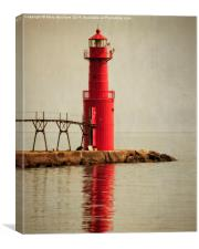 The Red Lighthouse, Algoma, Canvas Print