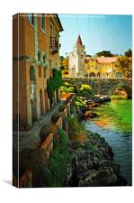 Walkway along the River - Cascais, Canvas Print