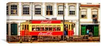 Street Scene With Red Tram - Porto, Canvas Print