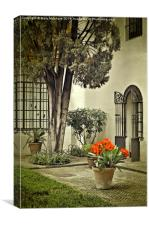 Red Geraniums In The Courtyard, Canvas Print