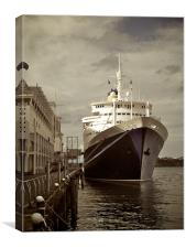 Moored Ship - Auckland Harbour, Canvas Print