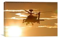 Sunset Apache AH64 attack Helicopter, Canvas Print