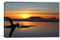 Rhossili Sunset, Canvas Print