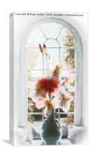 Flowers in Vase at Window #1, Canvas Print