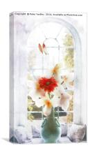 Flowers in Vase at Window #2, Canvas Print