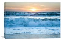 Waves at sunset on Fistral beach ,Newquay, Cornwa, Canvas Print