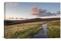 Dusk on the hills of the Peak District, Canvas Print
