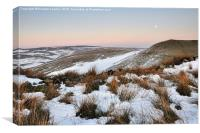 Moon rising above snowy moors, Canvas Print
