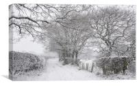 English country lane in the snow, Canvas Print