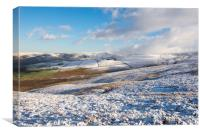 Snowy moors above Derbyshire level, Canvas Print