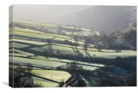 Frosty fields near Hayfield, Derbyshire, Canvas Print