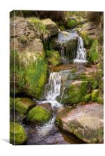 Rocky moorland stream in the Peak District, Canvas Print