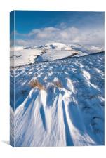 Drifting snow in the Peak District hills, Canvas Print