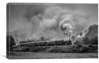 61034 'Chiru' leaving Grosmont, Canvas Print