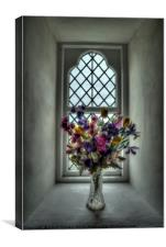 Flowers on Church sill, Canvas Print