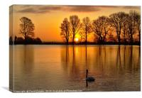 Sunrise over the lake, Canvas Print