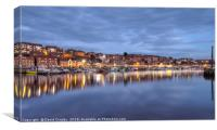 The blue hour at Whitby, Canvas Print