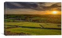 Hewenden Viaduct in the setting sun, Canvas Print