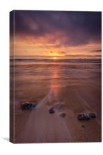 Constantine Bay Sunset, Cornwall, Canvas Print