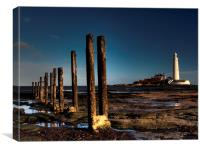 Posts & Lighthouse, St Marys, Canvas Print