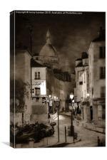 La  Rue Norvins, Canvas Print