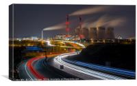 Ferrybridge Power Station and the A1M at Night, Canvas Print