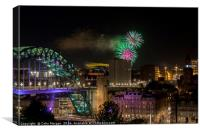 Tyne Fireworks, Canvas Print