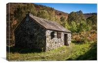 Bark House Mountain Base Hut, Derwent Water, Canvas Print