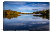 Bolam Lake Tranquil Autumn Blue, Canvas Print
