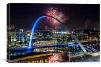 Millennium Bridge Fireworks, Canvas Print