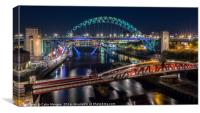 Tyne Bridge & Swing Bridge at Night, Canvas Print