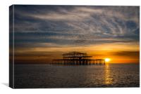 West pier at sunset with murmurations, Canvas Print