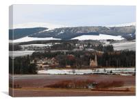 Tarland Aberdeenshire in the Snow, Canvas Print