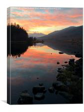 Snowdon mountain at sunset from Capel Curig, Canvas Print