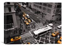 New York City yellow cabs, Canvas Print
