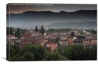 Early morning mist in the Sercio vally and Appenin, Canvas Print