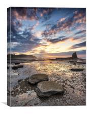 Summer Sunset at Saltwick bay, Canvas Print