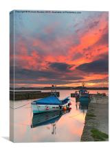 Beadnell Harbour Sunset, Canvas Print