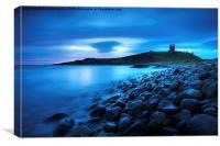 Steel Blue Dawn Dunstanburgh, Canvas Print