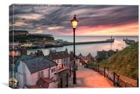 A summer sunset over Whitby pier, Canvas Print