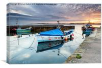 Beadnel Harbour Sunset, Canvas Print